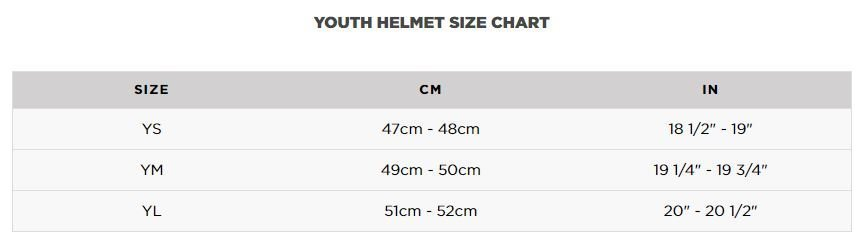 dirt bike gear for kids size chart